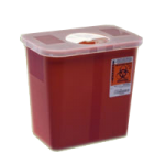Covidien Kendall Multi Purpose Sharps Container with Lid,3 Gallon, Red with Hinged and Rotor Lid,10/Case,8527R