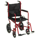 Drive Lightweight Expedition Aluminum Transport Chair,Red,Each,EXP19LTRD