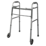 Medline Two-Button Folding Walkers With 5 Inches Wheels,Standard,Each,MDS86410JW54H