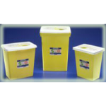 Covidien Kendall ChemoSafety Sharps Container with Sliding Lid,18Gallon, 6″ Round Opening, Yellow,5/Case,8939