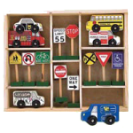 Melissa & Doug Wooden Vehicles and Traffic Signs Play Set,10.25″ x 2″ x 12.5″, Assembled,Each,774