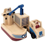 Melissa & Doug Whittle World Wooden Cargo Ship and Truck Play Set,16.87″ x 7.5″ x 4.37″ Packaged,Each,4538