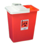 Covidien Kendall Large Volume Container with Hinged Lid,12 Gallon, Red with Sealing Gasket Lid,10/Case,8932