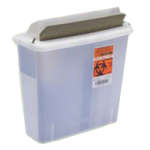 Covidien Kendall In-Room Sharps Container with Mailbox Style Lid,5qt, Clear,20/Case,85121