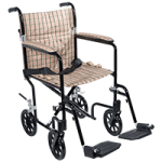Drive Deluxe Fly-Weight Aluminum Transport Chair,19″, Green Frame and Black Upholstery,Each,FW19GR
