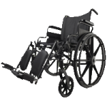 Medline Excel K4 Basic Manual Wheelchair,18″W with Swing-Away Fixed Footrests,Each,MDS806500E