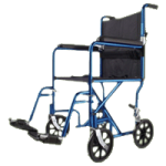 Medline Basic Aluminum Transport Chair With Eight Inch Wheels,Blue,Each,MDS808200ABE