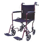 Mabis DMI 19 Inches Folding Steel Transport Chair With Hand Brakes,Burgundy,Each,501-1037-0778