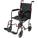 Rose Healthcare 19 Inch Light Weight Aluminum Transport Chairs,Burgandy,Each,1007BG
