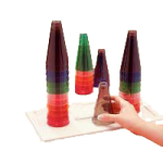 Rolyan Stacking Cones,Set of 30 Cones (5 of Each Color) With Plastic Base,Each,A5001