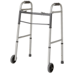 Guardian Easy Care Folding Walker With 5 Inch Fixed Wheels,Adult,Each,G30757W
