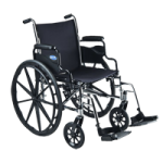 Invacare Economy High Performance Lightweight Wheelchair,18″ with Padded, Elevating Legrest,Each,1811