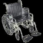 Drive Chrome Sport Dual Axle Wheelchair,20″ Detachable Full Arm, Swing-Away Footrest,Each,CS20DFA-SF