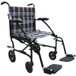 Drive Fly-Lite Aluminum Transport Chair,Burgundy Frame and Black Upholstery,Each,DFL19-RD