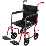 Drive Deluxe Fly-Weight Aluminum Transport Chair With Removable Casters,Red Frame and Black Upholstery,Each,FW19RW-RD