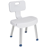 Drive Shower Chair With Folding Back,White,Each,RTL12606