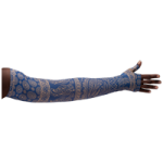 LympheDivas Blue Bandit Compression Arm Sleeve And Gauntlet,Each,BLUE BANDIT